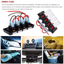цена на 4 Gang Rocker Switch 16A Circuit Breaker with Red LED Indicator for RV Cars Marine Boat