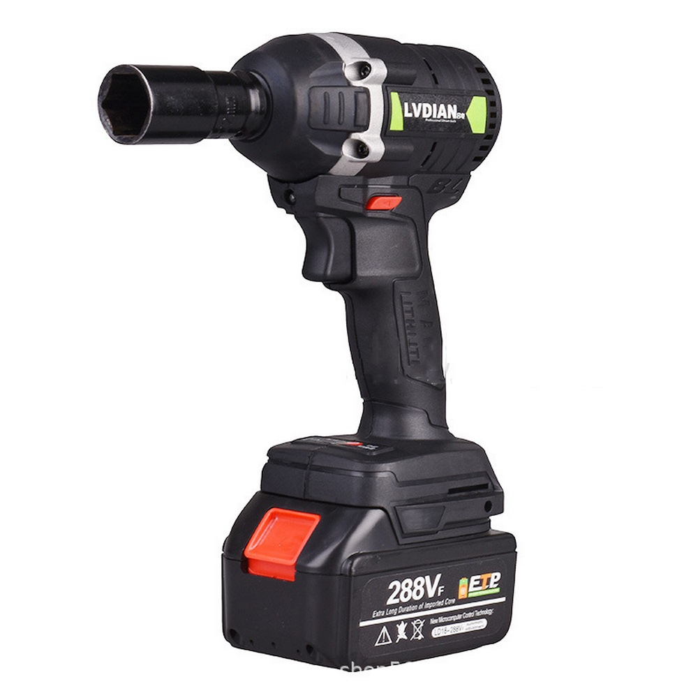 600Nm High Torque 288VF Waterproof Brushless Wrench LED Light 1x Li-ion Battery Cordless Electric Impact Drill Screwdriver