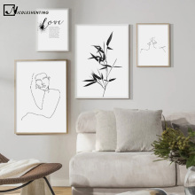 Black White Line Drawing Wall Art Picture Abstract Poster Canvas Print Minimalist Painting Bamboo Love Quotes Nordic Decoration