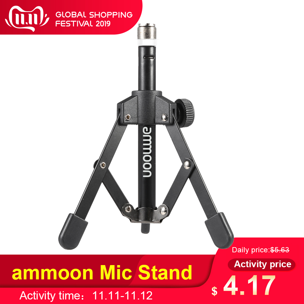 Ammoon MS-12 Mini Foldable Desktop Tabletop Tripod Microphone Mic Stand Holder For Meeting Fit For Most Standard Mic Clip