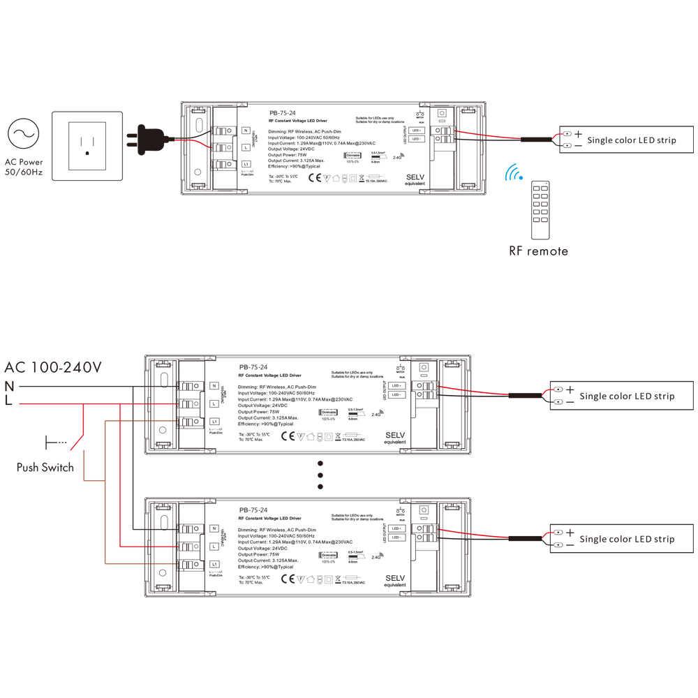 75W ściemniacz stałe napięcie kierowcy z 2.4G odbiornik funkcji kontrolera dla jednego koloru oświetlenie led oświetlenie transformatory DC12V