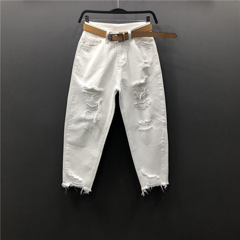 Summer New Korea Fashion Vintage Ripped White Jeans For Women Loose Casual Ankle-length Denim Harem Pants Jean Femme S921