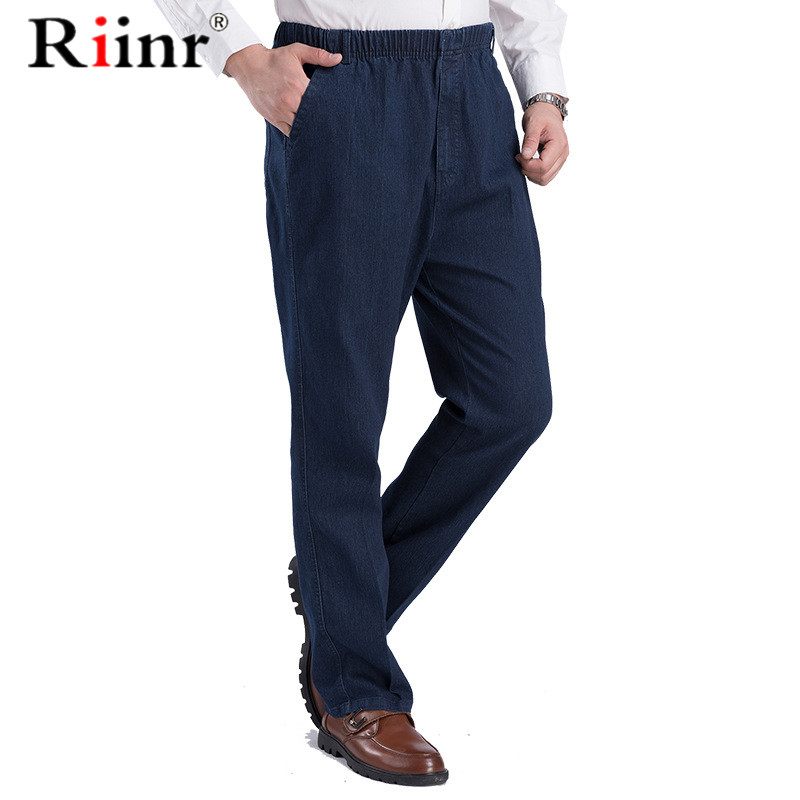 Riinr 2020 New Classic Men's Elastic Waist Jeans Casual Jeans Male Business Style Trousers Fashion Man Straight Pants Size Puls