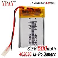 Alta capacidad 402030 3 7 v 500mAh li ion células Lipo polímero de litio li po batería recargable para Bluetooth GPS MP3 MP4 grabadora|Baterías recargables| |  -