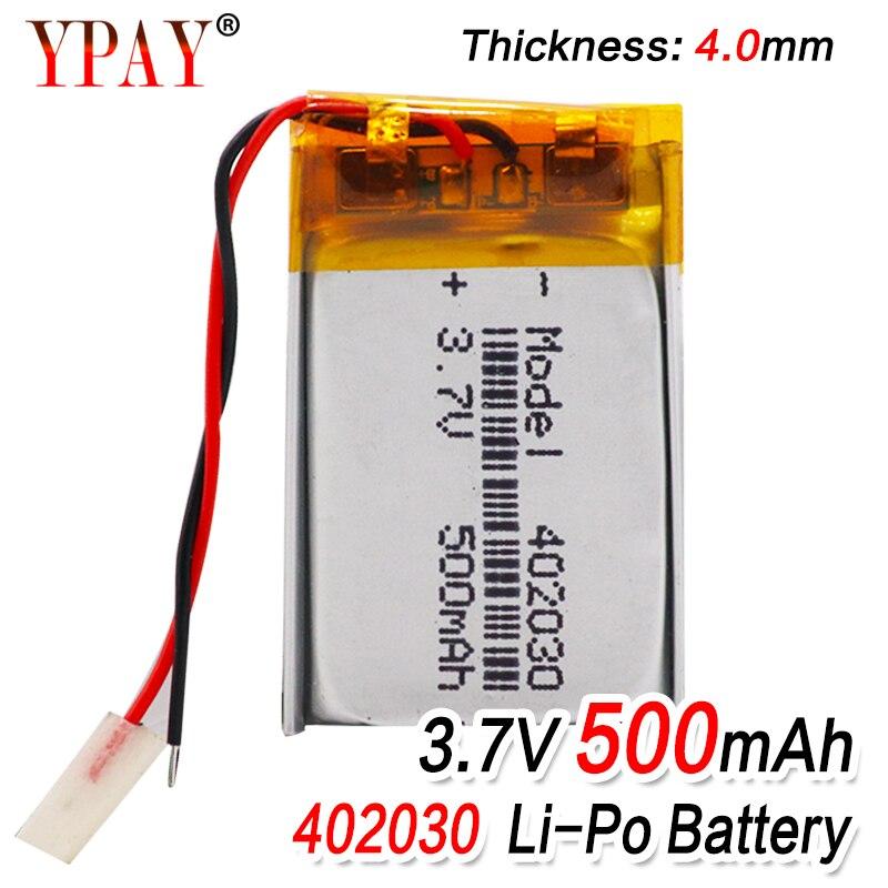 High Capacity 402030 3.7v 500mAh Li-ion Lipo Cells Lithium Li-Po Polymer Rechargeable Battery For Bluetooth GPS MP3 MP4 Recorder