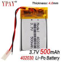 high capacity 402030 3.7v 500mAh li-ion Lipo cells Lithium Li-Po Polymer Rechargeable Battery For Bluetooth GPS MP3 MP4 Recorder цена