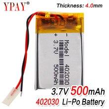 Bateria recarregável do polímero do li-po do lítio das pilhas do lipo do li-íon da capacidade alta 402030 3.7v 500 mah para o gravador mp4 de bluetooth gps mp3
