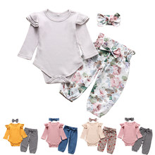 Newborn Infant Baby Girls Clothes Flower Pattern Long Sleeve Bodysuit Pants Headband Toddler 3Pcs Outfits Clothing Set(China)