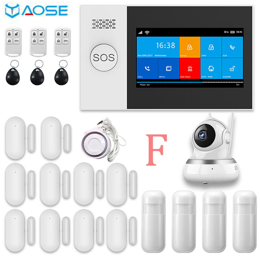YAOSE PG107 433MHZ GSM Home  Burgal Alarm System App Remote Control RFID Card Arm And Disarm With Camera Kits