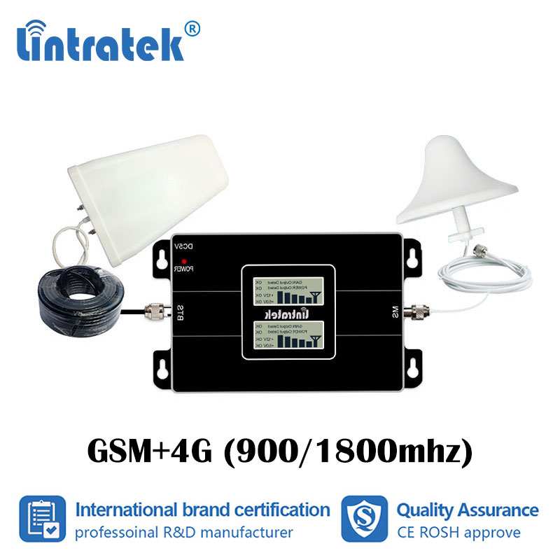 Lintratek GSM 900 1800 2G 4G Dual Band Cellular Booster Signal Repeater 900mhz DCS 1800mhz Amplifier