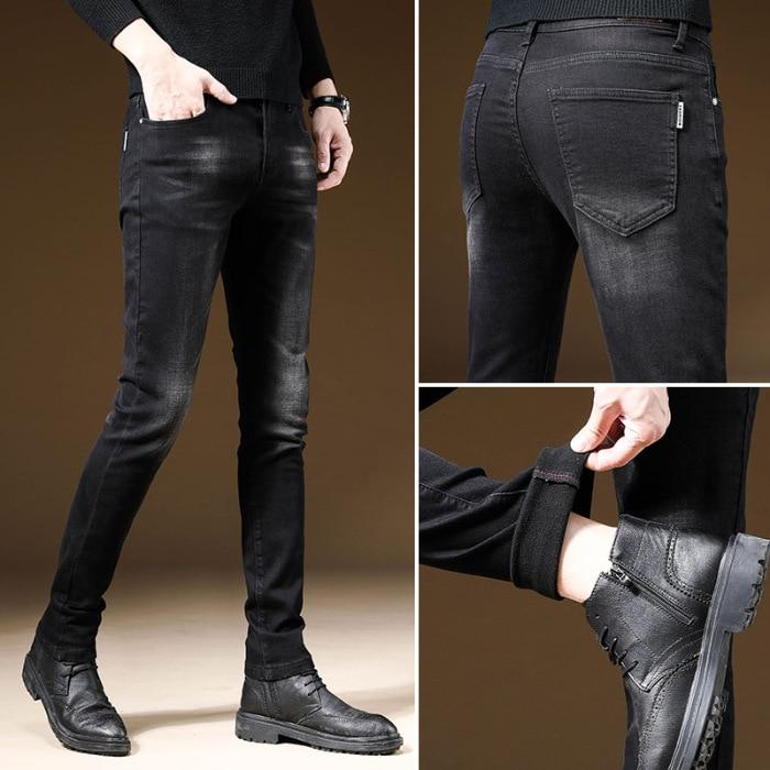 Winter Korean-style Men Fleece Thin Cashmere Elasticity Slim Fit Jeans Youth Warm Versatile Fashion Medium Waist Skinny Pants