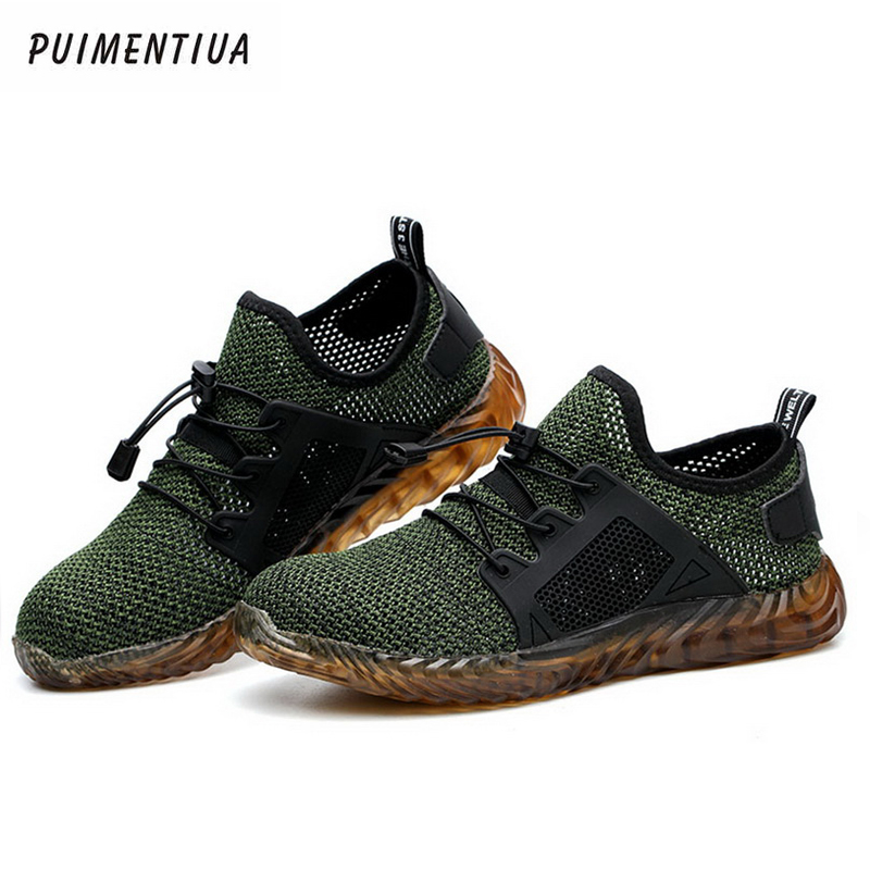 Puimentiua Shoes Work-Sneakers Air-Safety-Boots Steel-Toe Indestructible Breathable Women