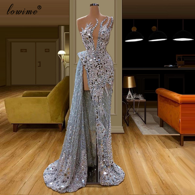 2020 Luxury Heavy Hanmade Pearls Evening Dress Long Transparent Abendkleider Crystals Celebrity Dress Kaftan Sexy Prom Gowns