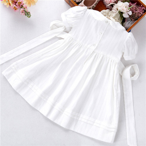 Image 5 - summer baby girls dresses white smocked handmade cotton vintage wedding kids clothing Princess Party boutiques children clothes