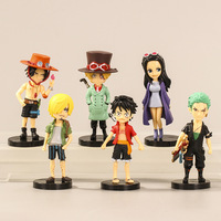 6 teile/satz 8cm Anime One Piece Abbildung Mini Spielzeug Luffy Sanji Boa Hancock Ace Lorenor Zorro PVC Modell Abbildung puppen