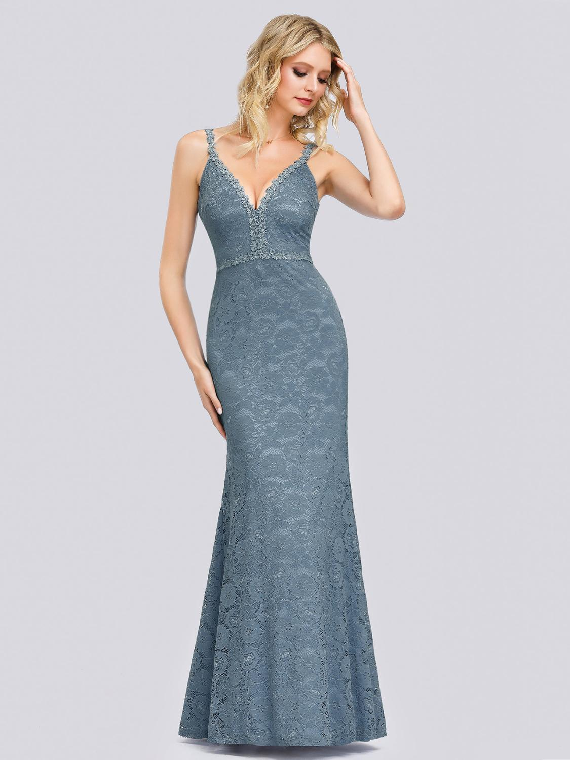 Party-Gowns Spaghetti-Straps Evening-Dresses V-Neck Ever Pretty Abendkleider Mermaid