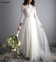 Ivory A line Boho Wedding Dresses 2019 Lace Tulle Bride Dress Long Sleeves Simple Beach Floor Length Wedding Gown