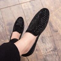 Männer Mode Loafer Schuhe party Kleid Casual Strass Spitz Flache Atmungs partei Kleid Schuhe Zapatos Hombre