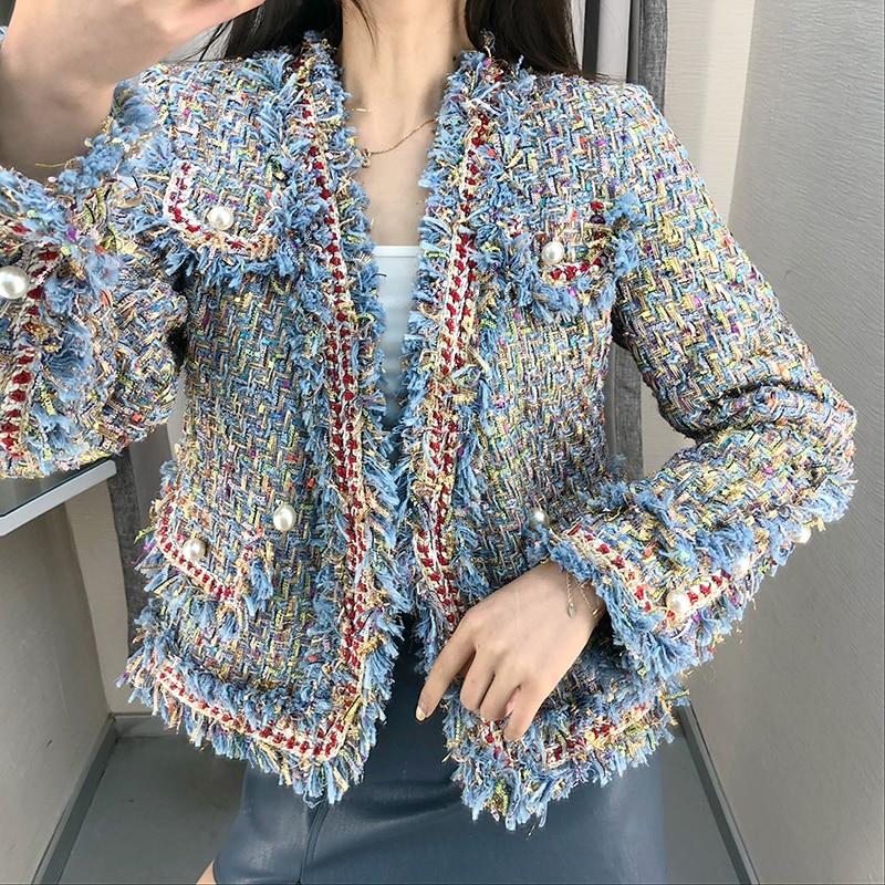 2018 Women Coat Tweed Wool Jacket Pearl Button Tassel Jacket Weave Outwear Hot