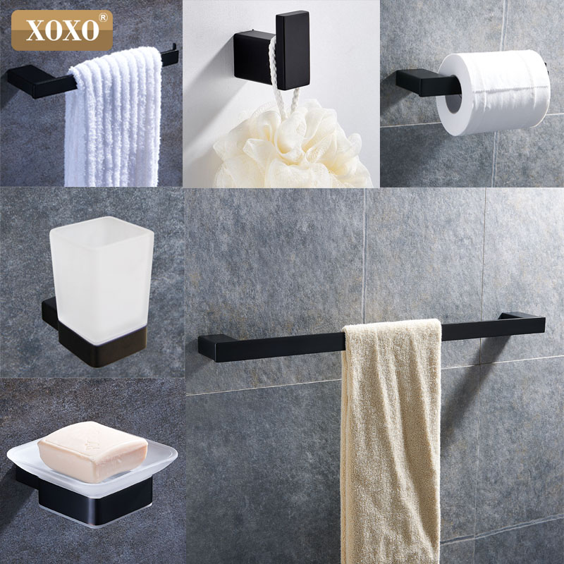 XOXO Black Stainless Steel 304 Towel Ring Robe Hook Toilet Brush Holder Towel Hang Bathroom Accessories Sets Of Paper Clips 4880