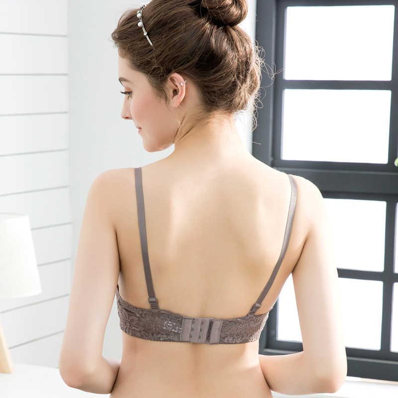 Lingerie Seksi Wanita Renda Bunga Bordir Bra Celana Dalam Seamless Push Up Bra Nirkabel Disesuaikan Bralette
