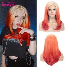Имстайл Омбре красный парик прямой синтетический парик фронта шнурка для женщин блонд корень парик Жаростойкие Волокна Косплей вечерние парик