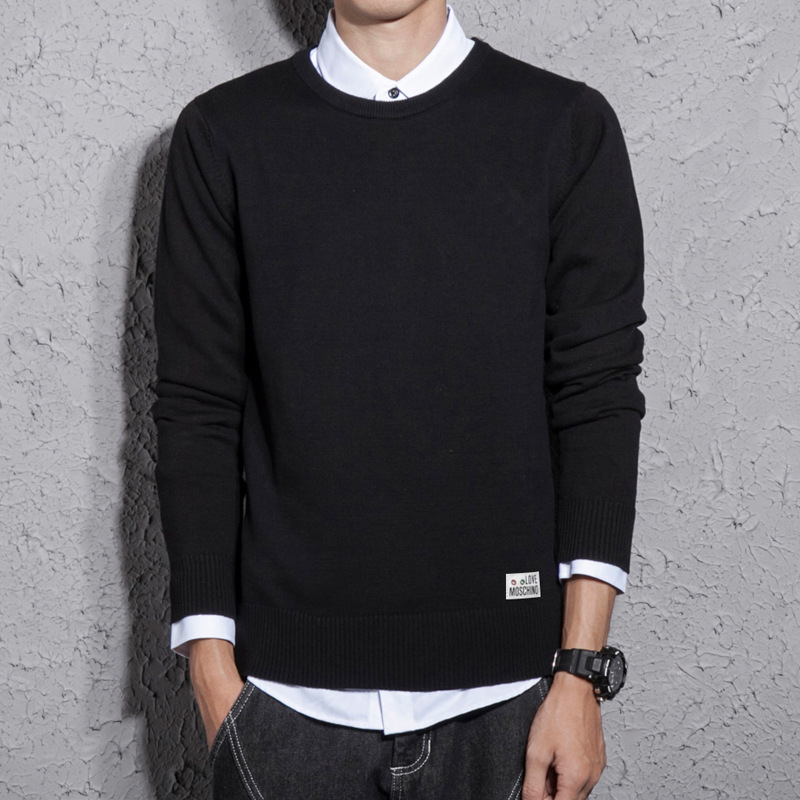 Mens Sweaters 2020 Spring and Autumn New Cotton Slim Solid Round Neck Pullover Men Plus Size Sweater Men Sweater Coats
