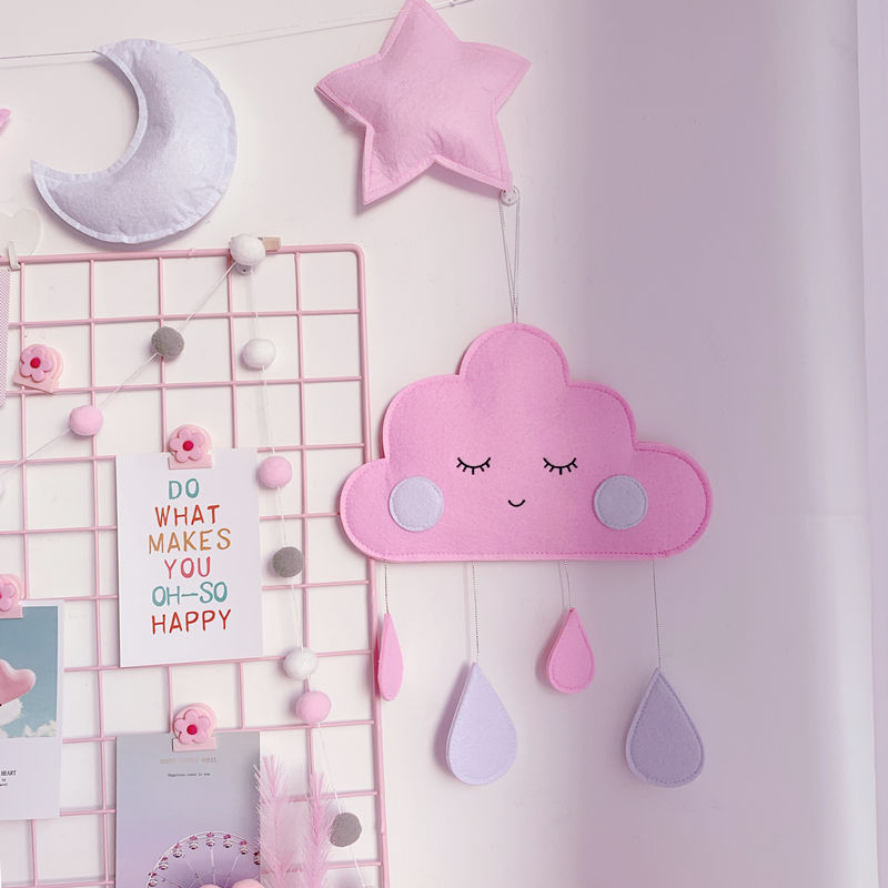 INS Baby Room Decor Toys Newborn Clouds Hanging Ornaments Crib Bumper Bed Bell Baby Bedroom Decoration Water Droplets