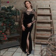Вечернее платье когда-либо красивая сексуальная кружево декольте макси бархат элегантный круглый вырез русалка вечернее платье с сбоку разрез черное платье