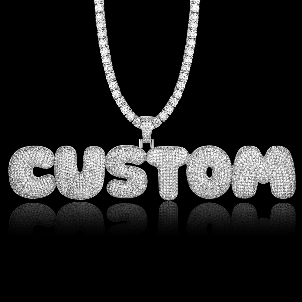 Bling Bling Custom Name Letter Zircon Pendant Necklace 100% Micro Pave CZ Hip Hop Iced Out Tennis Chain Jewelry Dropshipping