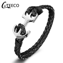 CUTEECO Anchor Bracelet New Retro Leather Multicolor Woven Wax Rope Korean Creative Jewelry