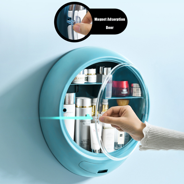 New Bathroom Wall-mounted Makeup Storage Box without Punching Large-capacity Jewelry Cosmetic Storage Box 5
