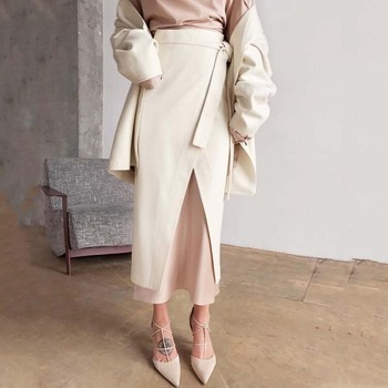 Womens Winter Skirt Wool Autumn Irregular Slit Female Brown Thick Warm Clothes 2019 Fall Lace-up Wrap Work Office Long Skirts 3