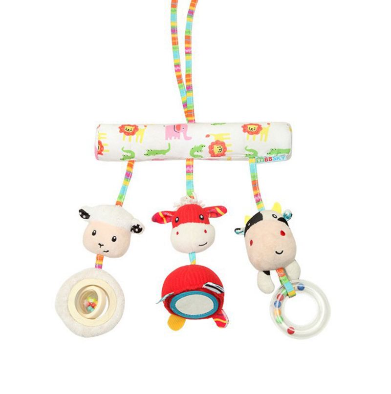 Baby Rattles Animal Cartoon Plush Teether Mirror Music Hanging Mobile To Bed Stroller Toy Soft Comfort Fawn Cow Lamb Newborn Toy