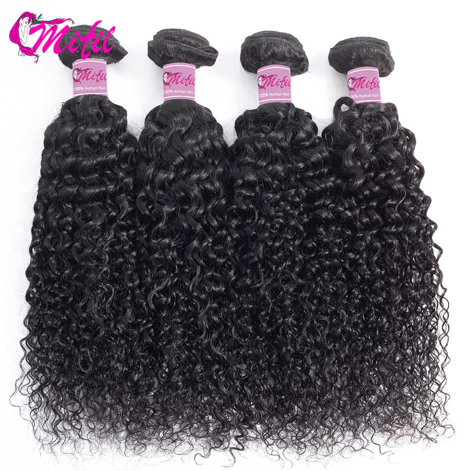 Mifil Brazilian Kinky Curly Human Hair Weave Bundles 8inch - 26inch 1 3 4 Bundles Non Remy Curly Hair Extension Natural Color