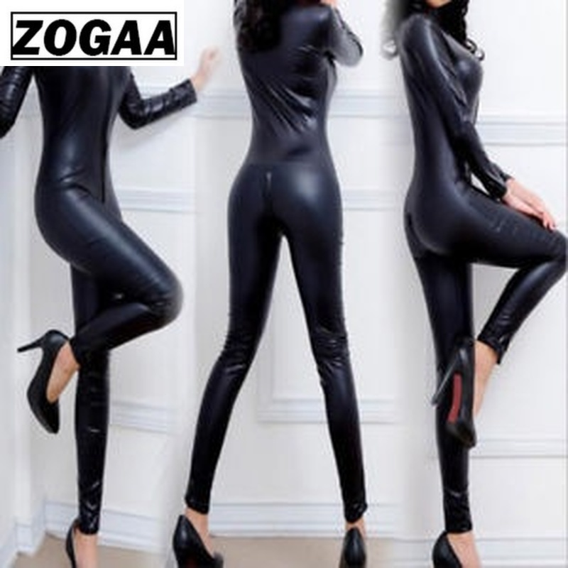 ZOGAA Party Sexy Women's Patent Leather Long Sleeve Clubwear Bodysuit Double Zipper Long Sleeves Open Crotch Pole Dance Costume