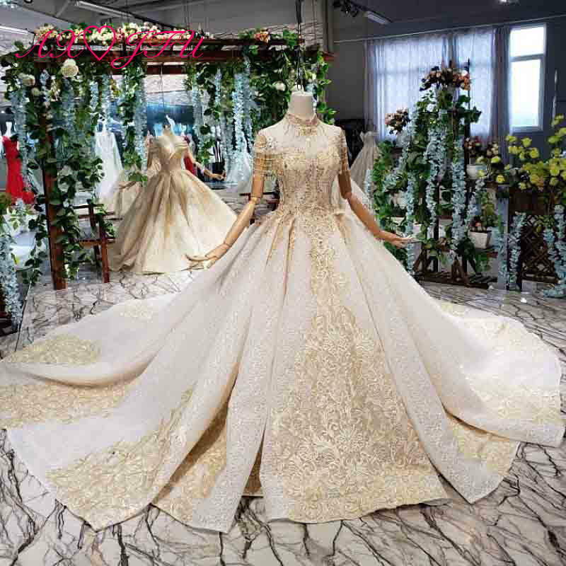 Axjfu Luxury Princess Beading Crystal Golden Flower Champagne Lace Wedding Dress Vintage High Neck Illusion Wedding Dress 11868 Wedding Dresses Aliexpress,Wedding Dresses Catalogs Free By Mail