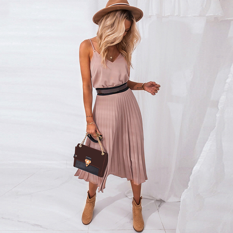 2021 Sexy Women Summer Sexy Dress Spaghetti Strap Dress V Neck Pink Female Pleated Midi Dress Casual Office Ladies Party Dresses