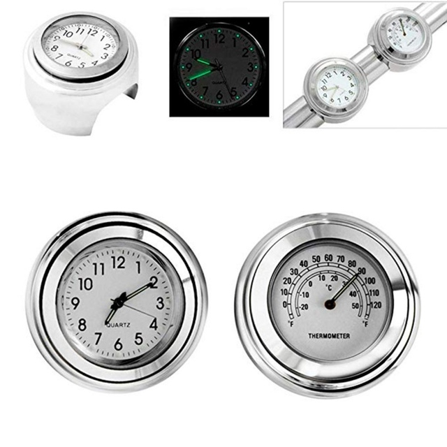 """Universal Waterproof 7/8 """"Motorcycle Handlebar Black/White Dial Clock Thermometer Motorcycles Accessories 6"""