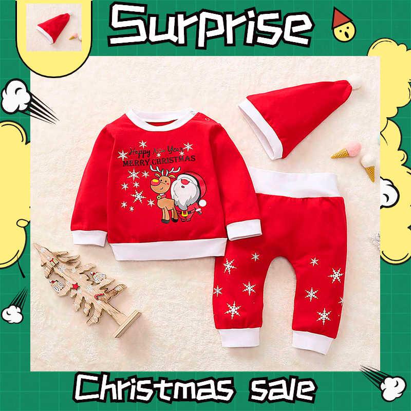 Conjuntos de bebé de Navidad rojo cuello redondo conjunto de niños 2019 nuevos niños pequeños niñas imprimir ropa de dormir Santa Fawn pijamas 3 uds trajes traje