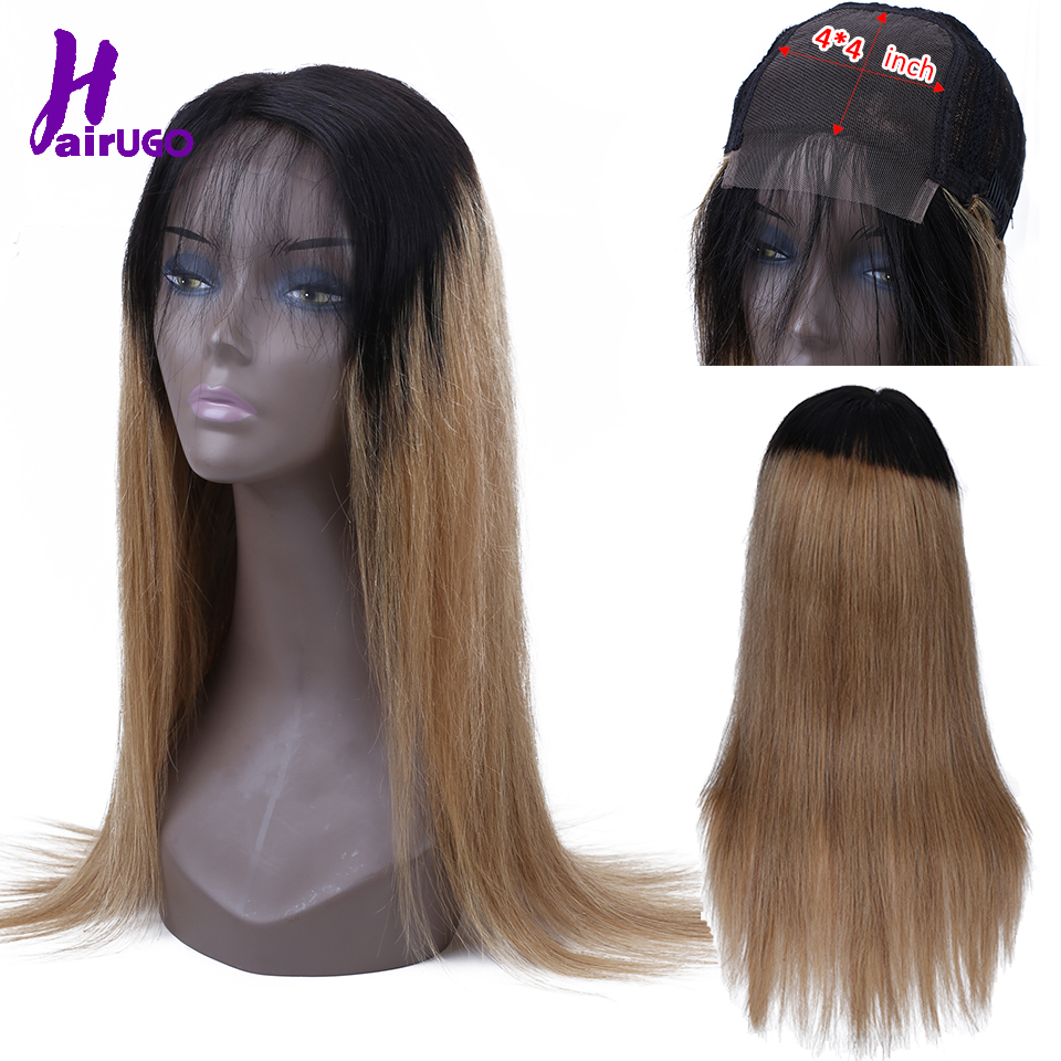 HairUGo Malaysia Straight Human Hair Wigs 4*4 Lace Closure Wig Ombre Lace Wig  For Black Women Non-Remy Pre Plucked Hairline