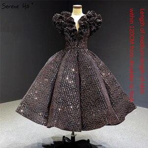 Image 3 - שחור זהב V צוואר יוקרה ערב שמלות 2020 שרוולים נצנצים Sparkle תה אורך פורמליות שמלת Serene היל HA2306