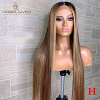 13*6 Remy Peruvian Hair Ombre Human Hair Wigs #1B/4/27 Highlight Lace Front Human Hair Wigs High Ratio Lace Wigs Straight Hair