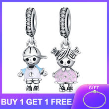 HOT SALE Authentic 925 Sterling Silver Charm Boy and Girl Pendant Charm fit Original s925diy Charm Bracelet Fine Silver Jewelry(China)