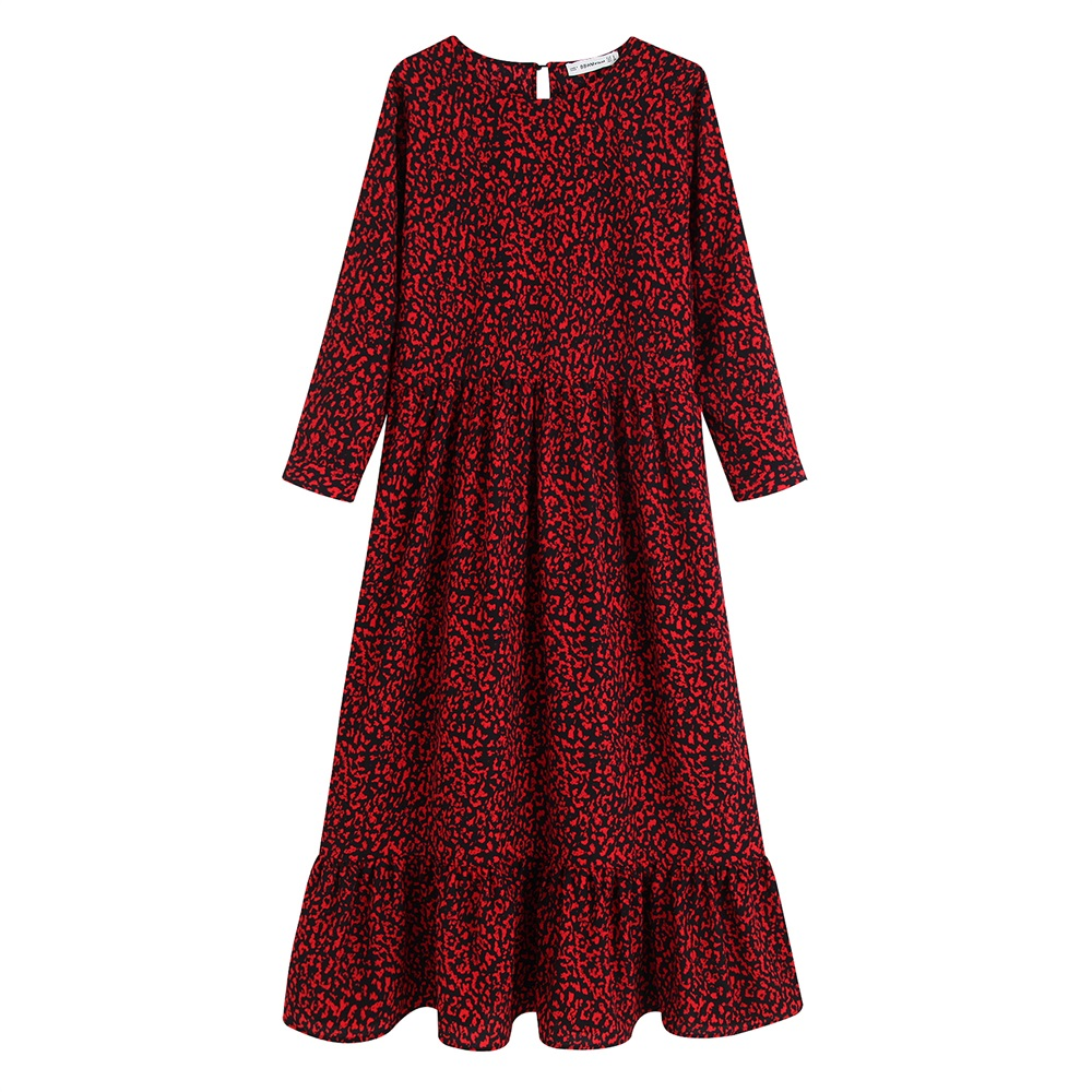 Autumn 2019 Women's Fashionable Style Miniflute Round-collar Long-sleeve Printed Straight and Short-length Dresses