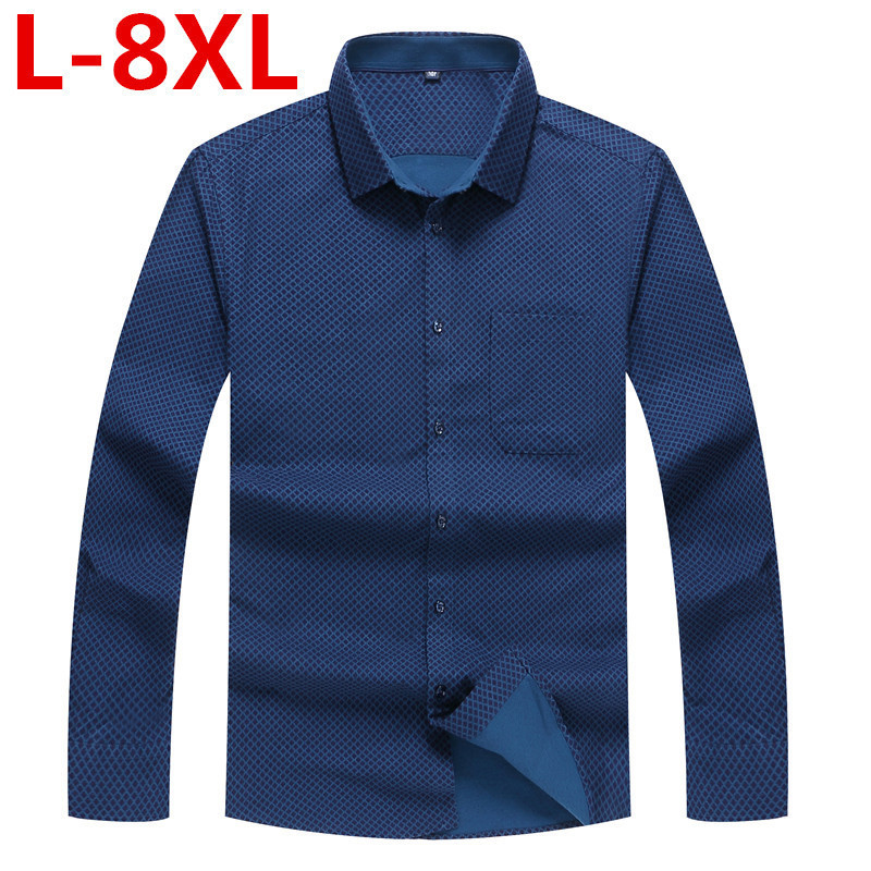 Plus Size 8XL 7XL 6XL 5XL Men Dress Shirt  Spring New Arrival Button Down Collar Long Sleeve Slim Fit Mens Business Shirts