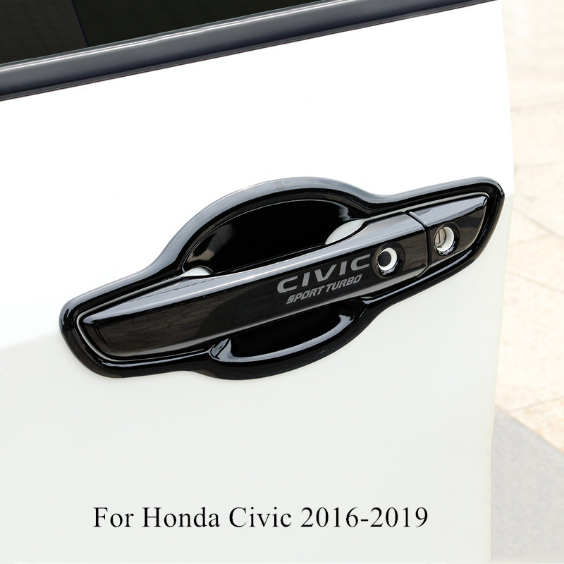 ABS Car Door Handle Cover Shell Trim Black / Silver Decoration Accessories For Honda Civic 2016 2017 2018 2019