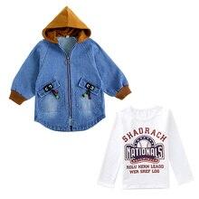 цена Spring Autumn Boys  Denim Jackets kids jeans coat Children splice Outerwear clothing boy hooded sport Clothes For 4-12T kids онлайн в 2017 году