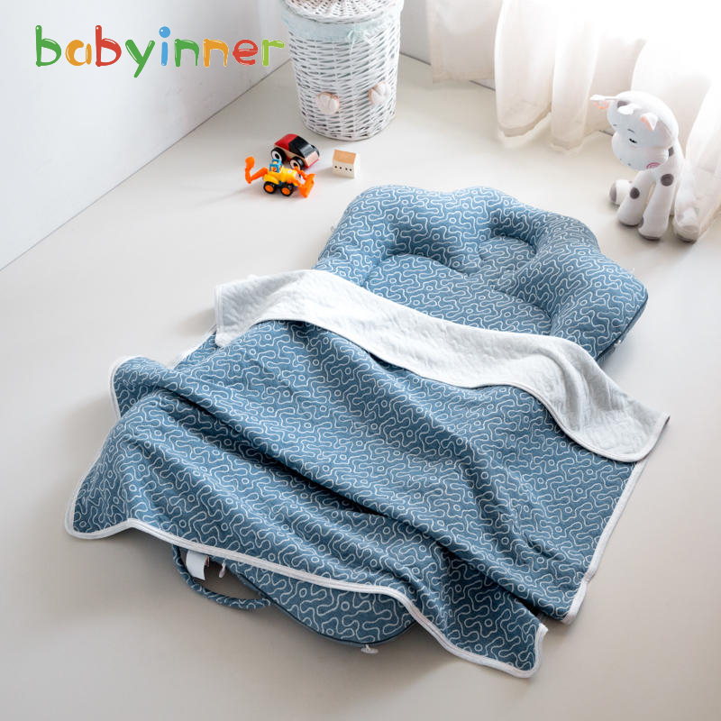 Baby Innner Portable Baby Crib 27.6*43.3in With 39.4*47.2in Blanket Foilding Infant Travel Bed Soft Cotton BabyNest For Toddler