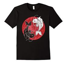 2020 High Quality Hot Sale 100% Cotton Yin Yang T-Shirt, Koi Fish Carp Tai Chi Symbol Japanese Tee Summer Style Tee Shirt(China)